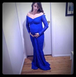 Royal blue lace maternity photoshoot dress